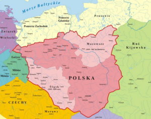 Map of Poland. In the upper part, Mazovia is highlighted in a lighter tone.